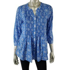 Talbots Top Small Pleated Lightweight Blue